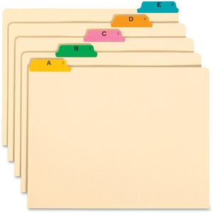 Smead A-Z Fused Vinyl Top-Tab Index Guides - 25 x Tab Printed A - Z - 25 Tab(s)/Set - 25 / Set - Manila Divider - Multicolor Tab