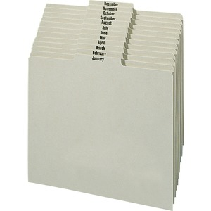 Smead 1/3 Cut Top Tab Monthly File Guides - 12 x Tab - 3 Tab(s)/Set - 1 Set - Gray, Green Divider