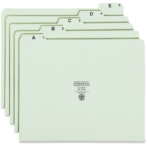 "Smead A-Z Green Pressboard Self Tab File Guides - Letter - 8.5"" x 11"" - 1/5 Tab Cut on Assorted Position - 1 Set - 18pt. - Green"