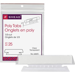 "Smead 1/3 Cut Vinyl Hanging Folder Tab - Blank - 3 Tab(s)/Set - 3.5"" - 25 / Pack - Clear Tab"