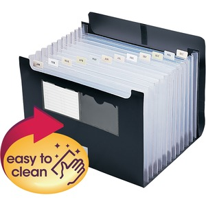 "Smead Desktop Expanding File with Flap - 0.88"" Expansion - 8.5"" x 11"" - Letter - 1 Each - Black"