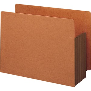 "Smead TUFF Pocket End Tab File Pocket - Letter - 8.5"" x 11"" - Straight Tab Cut - 5.25"" Expansion - 10 / Box - 12.5pt. - Brown"