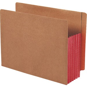 "Smead TUFF Pocket End Tab File Pocket - Letter - 8.5"" x 11"" - Straight Tab Cut - 5.25"" Expansion - 10 / Box - 12.5pt. - Red"