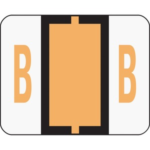 "Smead Bar Style Color Coded Alphabetic Label - 1.25"" Width x 1"" Length - 500/Roll - Light Orange"