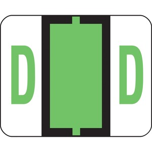 "Smead Bar Style Color Coded Alphabetic Label - 1.25"" Width x 1"" Length - 500/Roll - Light Green"