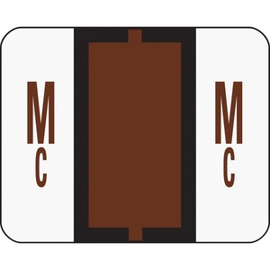 "Smead Bar Style Color Coded Alphabetic Label - 1.25"" Width x 1"" Length - 500/Roll - Brown"