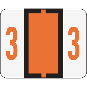 "Smead BCCR and BCCRN Bar Style Color Coded Label - 1.25"" Width x 1"" Length - 500/Roll - Dark Orange"