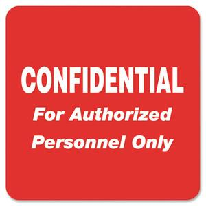 "Tabbies Confidential Label - 2"" Width x 2"" Length - 500 / Roll - Red"