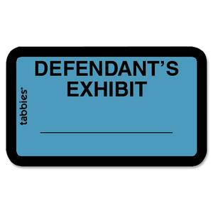 "Tabbies Legal Defendant's Exhibit Label - 1.62"" Width x 1"" Length - 252 / Pack"