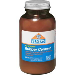 Elmer's 8 oz Bottle with Brush Rubber Cement - 8oz - 1 Each - Clear