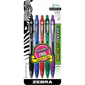 Zebra Pen Z-Grip Retractable Ballpoint Pen - Pen Point Size: 1mm - Ink Color: Black, Green, Red, Purple, Cyan - Barrel Color: Assorted - 1 Set