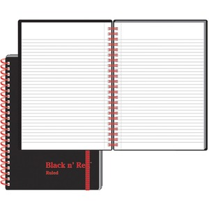"John Dickinson Black n' Red Perforated Notebook - 70 Sheet(s) - 24lb - Ruled - A5 5.88"" x 8.25"" - 1 Each - White"