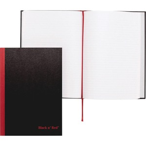 "John Dickinson Black n' Red Casebound Notebook - 96 Sheet(s) - 24lb - Ruled - A4 8.25"" x 11.75"" - 1 Each - White"