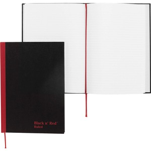 "John Dickinson Black n' Red Recycled Casebound Notebook - 96 Sheet(s) - 24lb - Ruled - A5 5.88"" x 8.25"" - 1 Each - White"