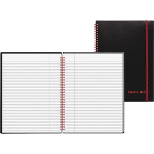 "John Dickinson Black n' Red Perforated Notebook - 70 Sheet(s) - 24lb - Ruled - 8.25"" x 11.75"" - 1 Each - White"