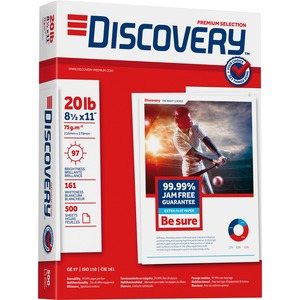 "Discovery Premium Selection Multipurpose Paper - Letter - 8.5"" x 11"" - 20lb - 97 GE/110 ISO Brightness - 5000 / Carton - Bright White"