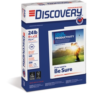 "Discovery Premium Selection Multipurpose Paper - Letter - 8.5"" x 11"" - 24lb - 99 GE/112 ISO Brightness - 5000 / Carton - Bright White"
