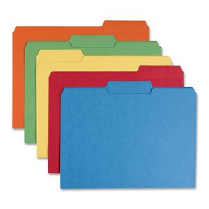"Sparco Interior File Folder - Letter - 8.5"" x 11"" - 1/3 Tab Cut on Assorted Position - 100 / Box - 11pt. - Assorted"