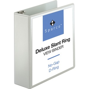 "Sparco Deluxe Slant Ring View Binder - Letter - 8.5"" x 11"" - 3"" Capacity - 1 Each - White"