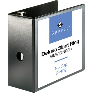 "Sparco Deluxe Slant Ring View Binder - Letter - 8.5"" x 11"" - 5"" Capacity - 1 Each - Black"