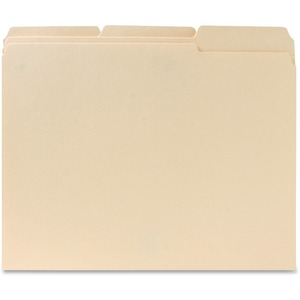 "Sparco Two-Ply File Folder - Letter - 8.5"" x 11"" - 1/3 Tab Cut on Assorted Position - 0.75"" Expansion - 100 / Box - 11pt. - Manila"