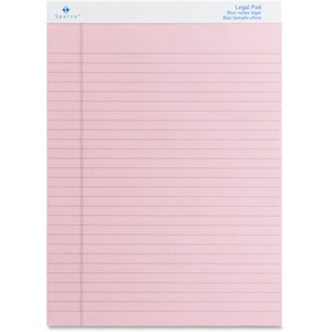 "Sparco Pink Legal Ruled Pad - 50 Sheet(s) - 16lb - Ruled - 8.5"" x 11.75"" - 12 / Dozen - Pink"