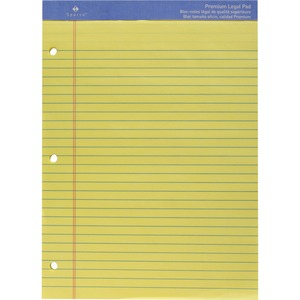 "Sparco Premium Grade Perforated Legal Ruled Pad - 50 Sheet(s) - 16lb - Legal Ruled - 8.5"" x 11.75"" - 1 Each - Canary"