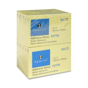 "Sparco Adhesive Note - Repositionable - 2"" x 3"" - Yellow - 12 / Pack"