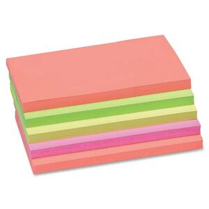 "Sparco Plain Adhesive Note - Repositionable, Removable - 3"" x 5"" - Neon - 5 / Pack"