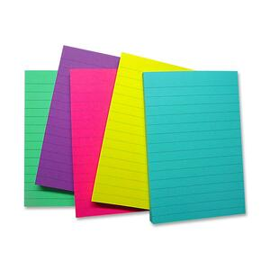 "Sparco Ruled Adhesive Note - Repositionable, Removable - 4"" x 6"" - Assorted - 5 / Pack"