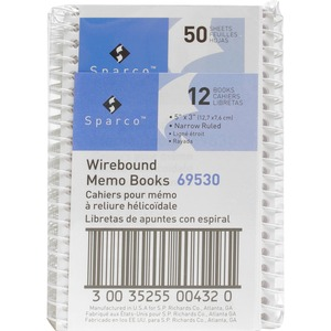 "Sparco Wirebound Memo Book - 50 Sheet(s) - Ruled - 5"" x 3"" - 12 / Dozen - White"