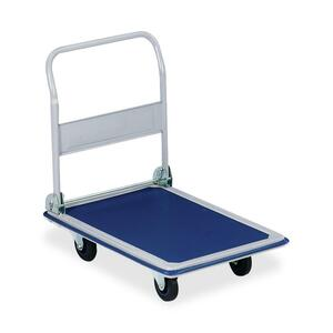 "Sparco Folding Platform Truck - Tubular Handle - 660 lb Capacity - Steel, PVC24.75"" x 36"" x 29.5"" - Blue, Gray"