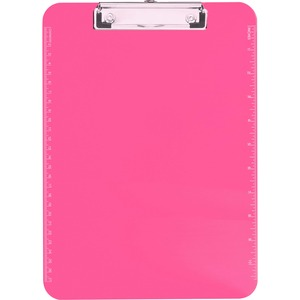 "Sparco Transparent Clipboard - 9"" x 12"" - Low-profile - Plastic - Neon Pink"