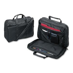 Sparco Leather Portfolio with Handle - Top-loading - Leather - Black