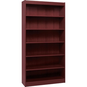 "Lorell Panel End Hardwood Veneer Bookcase - 36"" x 12"" x 72"" - Wood - 6 x Shelf(ves) - Mahogany"