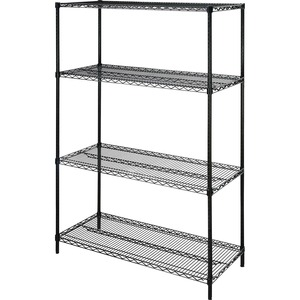 "Lorell 4-Shelf Add-On Wire Shelving - 48"" x 18"" x 72"" - Steel - 4 x Shelf(ves) - Black"
