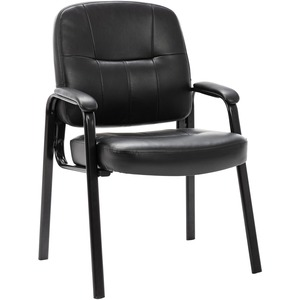 "Lorell Chadwick Executive Leather Guest Chair - Steel Black Frame26"" x 28"" x 35"" - Leather Black Seat"