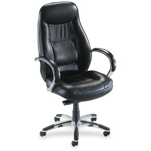 Lorell Ridgemoor Executive High-Back Swivel Chair - Aluminum Frame - Leather Black Seat