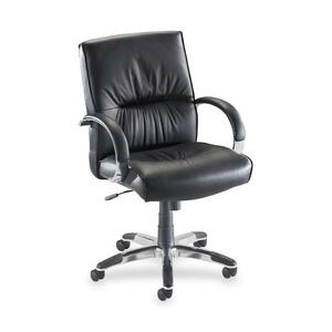 Lorell Bridgemill Managerial Mid-Back Swivel Chair - Aluminum Frame - Leather Black Seat