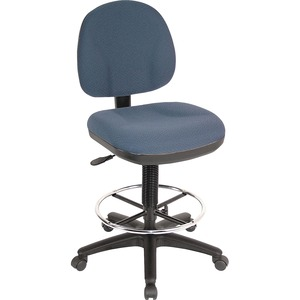 "Lorell Pneumatic Adjustable Multi-task Stool - 24"" x 24"" x 51"" - Blue Seat"