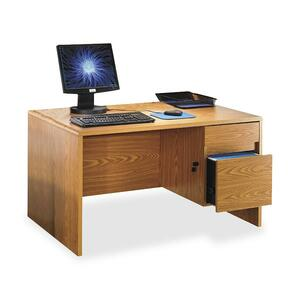 "Lorell Radius Computer Desk - Rectangle - 3 Shelf - 47.5"" x 30"" x 27"" - Particleboard - Medium Oak"