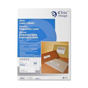 Elite Image White Mailing/address Laser Labels - Permanent Adhesive - 1 Width X 2 5/8 Length - Laser - White - 3000 / Pack