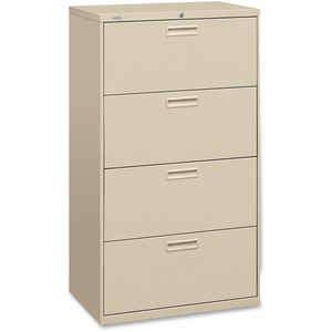 "HON 500 Series 30"" Wide Lateral File - 30"" x 19.25"" x 53"" - Steel - 4 x File Drawer(s) - Legal, Letter - Interlocking, Leveling Glide - Putty"