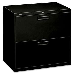 "HON 500 Series 30"" Wide Lateral Files - 30"" x 19.25"" x 28.38"" - Steel - 2 x File Drawer(s) - Legal, Letter - Security Lock, Leveling Glide - Black"