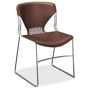 "HON Olson Stacker G5165Y Armless Stack Shell Chair - Steel Chrome Frame22"" x 19.75"" x 33"" - Polypropylene Garnet Seat"