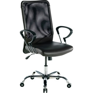 "Lorell 86000 Series Executive Mesh Swivel Chair - 24.75"" x 25.5"" x 42.5"" - Leather Black Seat"