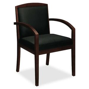 "Basyx VL853 Wood Guest Chair With Upholstered Back - Hardwood Mahogany Frame23.37"" x 23.75"" x 36.37"" - Plywood Black Seat"
