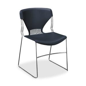 "HON Olson Stacker G5165Y Armless Stack Shell Chair - Steel Chrome Frame22"" x 19.75"" x 33"" - Polypropylene Navy Blue Seat"