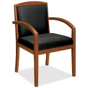 "Basyx VL853 Wood Guest Chair With Upholstered Back - Hardwood Bourbon Cherry Frame23.37"" x 23.75"" x 36.37"" - Leatherette Black Seat"