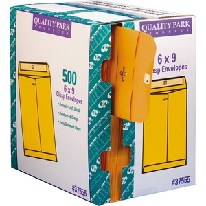 "Quality Park Clasp Envelopes with Dispenser - #55 (6"" x 9"") - 28lb - Clasp - 500 / Carton - Kraft"